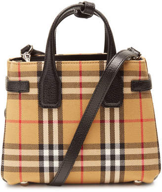 Burberry The Baby Banner Checked Leather Handbag