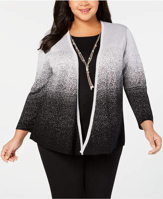 Alfred Dunner Plus Size Shinning Moments Metallic Layered Look Top