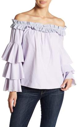 Romeo & Juliet Couture Off-the-Shoulder Tiered Bell Sleeve Blouse