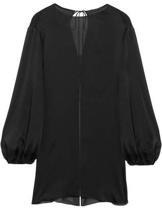 Latou Open-back Silk Crepe De Chine Blouse - Black