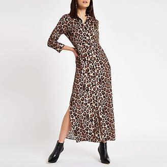 River Island Brown leopard print maxi shirt dress