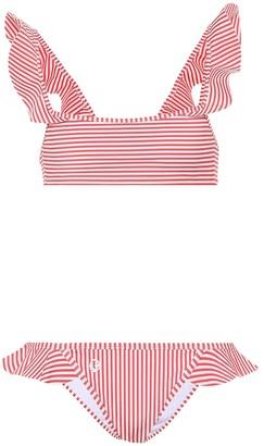 Fendi Striped ruffle bikini