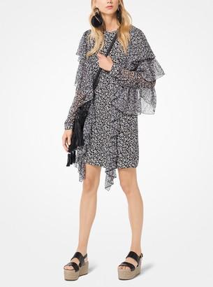 Michael Kors Floral Ruffled Silk-Georgette Shift Dress