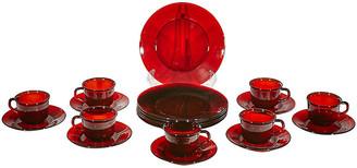 One Kings Lane Vintage 1960s Red French Glass Dinnerware - Set of 20 - 2-b-Modern