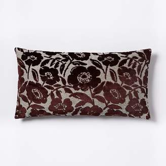 west elm Jacquard Velvet Flower Heads Pillow Cover - Burgundy
