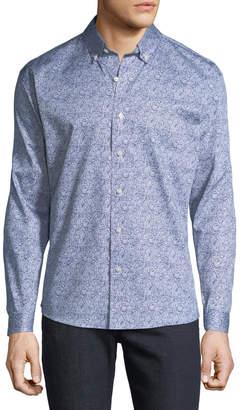 Neiman Marcus Men's Regular-Fit Paisley Button-Down Cotton Sport Shirt