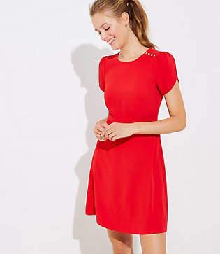 LOFT Tall Shoulder Button Flare Dress