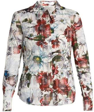 Erdem Sloane Floral Print Cotton Blend Seersucker Shirt - Womens - White  Print 2423100eb