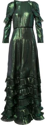 Huishan Zhang metallic ruffled dress