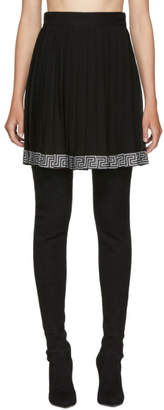 Versace Black Pleated Logo Band Skirt