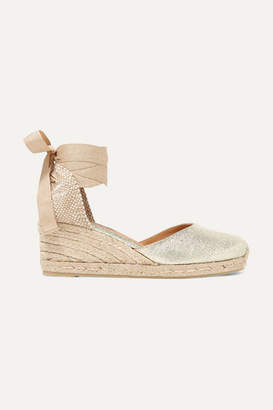 Castaner Carina 60 Metallic Canvas Wedge Espadrilles - Gold