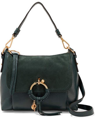 See by Chloe Joan Small Suede-paneled Textured-leather Shoulder Bag - Forest green