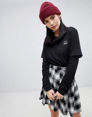 Monki overlay long sleeve top in black