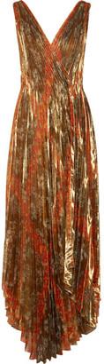 Oscar de la Renta - Pleated Printed Silk-blend Lamé Wrap Gown - Gold $4,990 thestylecure.com