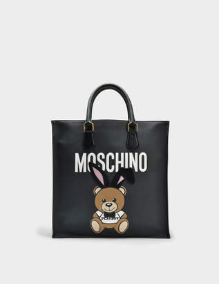 Moschino Teddy Playboy Shopper Bag in Black Saffiano