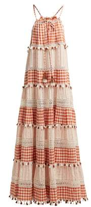 Dodo Bar Or Patricia Tiered Gingham Maxi Dress - Womens - Tan Multi