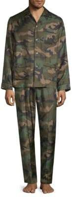 Valentino Two-Piece Silk Camouflage Pajama Set