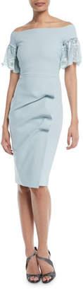 Chiara Boni Farideh Lace-Sleeve Sheath Dress