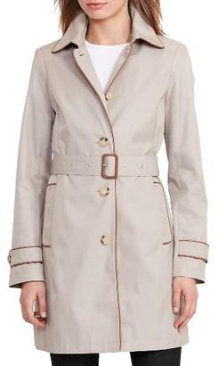 Women's Lauren Ralph Lauren Faux Leather Trim Trench Coat $190 thestylecure.com