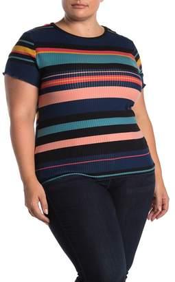 Planet Gold Short Sleeve Stripe Print T-Shirt (Plus Size)
