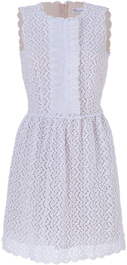RED Valentino White Embroidered Dress