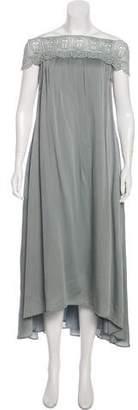 Self-Portrait Silk-Blend Off-the-Shoulder Dress w/ Tags