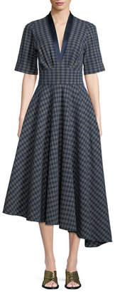ADAM by Adam Lippes Kasuri Short-Sleeve Check Denim Dress w/ Asymmetric Hem