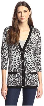James & Erin Women's Cashmere Leopard Cardigan