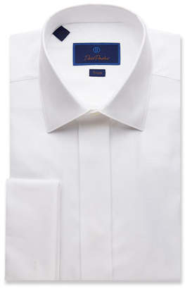 David Donahue Men's Trim-Fit Diamond-Pattern Formal Dress Shirt