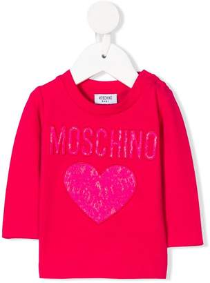 Moschino Kids lace embroidered logo top