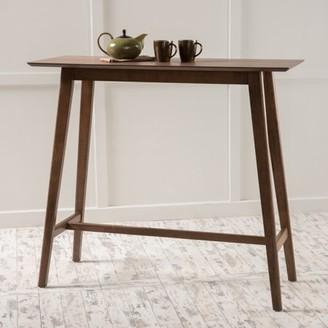 Noble House Luzan Walnut Finish Wood Bar Table