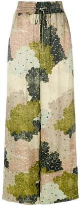Off-White floral-print wide-leg trousers
