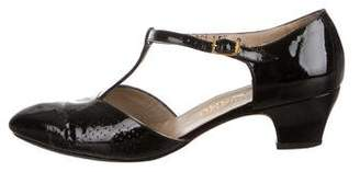 Salvatore Ferragamo Patent Leather T-Strap Pumps