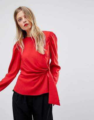 Asos Design Long Sleeve Blouse with Origami Detail