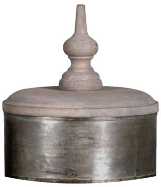 Villa2 Jasmine Box Lid Finished in Vintage-Inspired Distressed Zinc Lota Vintage-Inspired Finish