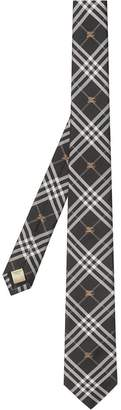Burberry Slim Cut Equestrian Knight Check Silk Tie