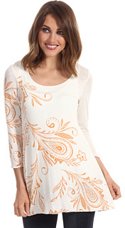 Miraclebody Jeans Pop Art Paisley Print BFF Top w/ Body-Shaping Inner Shell