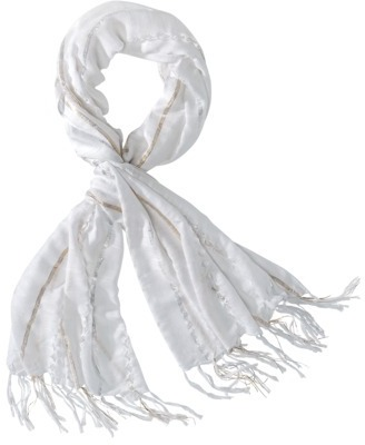 Merona Diamond Cut Out Scarf with Gold and Silver Stripes - White