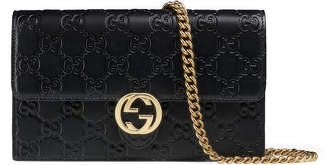 Gucci Icon Gucci Signature chain wallet $895 thestylecure.com