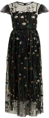 RED Valentino Floral Embroidered Tulle Midi Dress - Womens - Black