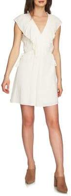 1 STATE 1.STATE Ruffle Edge Side Ties V-Neck Dress