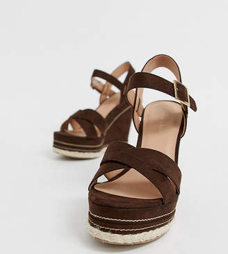 New Look faux suede cross strap wedges in mid brown