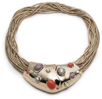 Alexis Bittar Sculptural Stone Cluster Snake Chain Bib Necklace