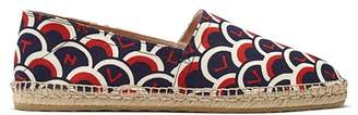 Valentino Scale Print Canvas Espadrilles - Womens - Blue Multi