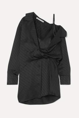 Alexander Wang Draped Lace-trimmed Silk-blend And Satin-jacquard Mini Dress - Black