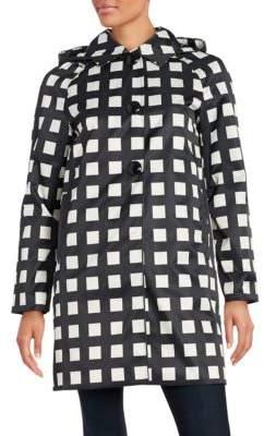 Kate Spade Checked Hooded Rain Coat