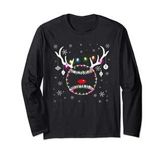 Baseball Deer Christmas Light Gift For Baseball Lover Long Sleeve T-Shirt