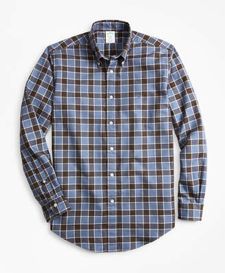 Brooks Brothers Milano Fit Plaid Brushed Oxford Sport Shirt