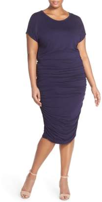 Vince Camuto Side Ruched Jersey Midi Dress