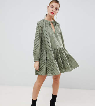 Asos DESIGN Petite tiered trapeze mini dress in broderie